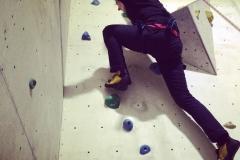 Sara climbing at Boulders