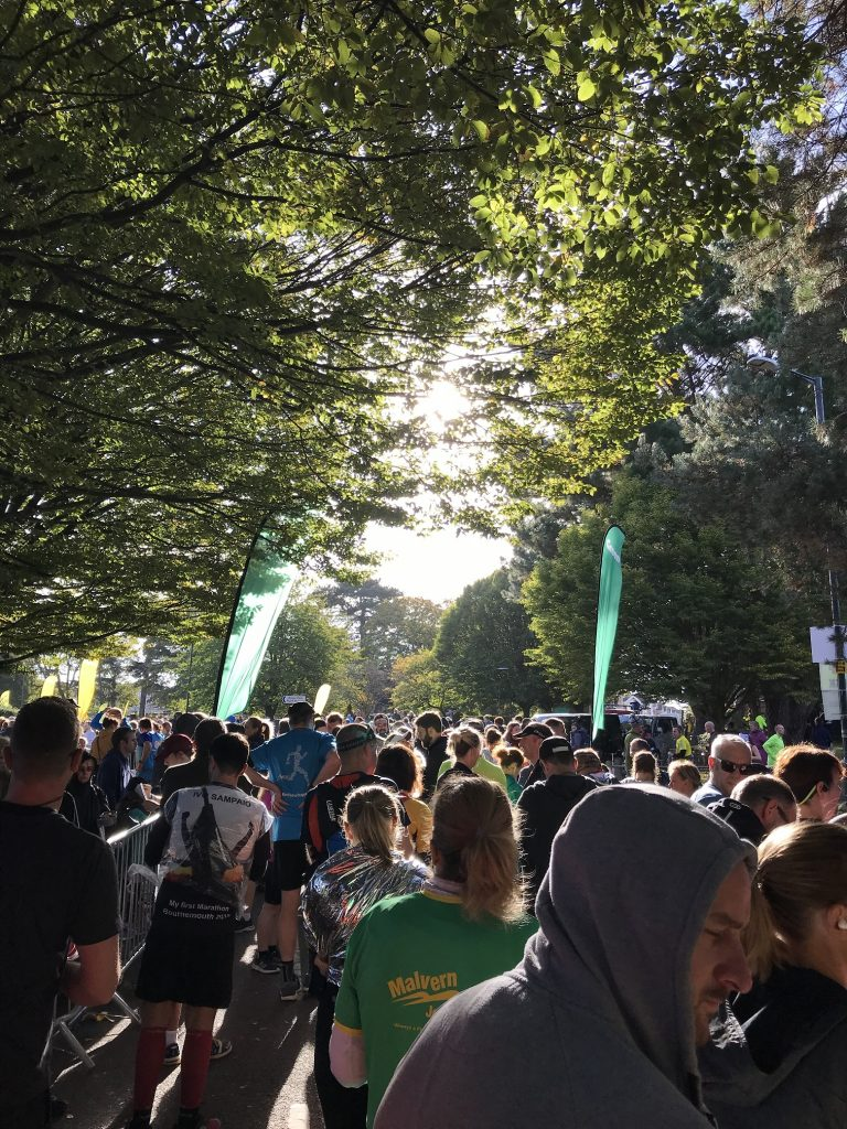 The green starting pen of the Bournemouth marathon