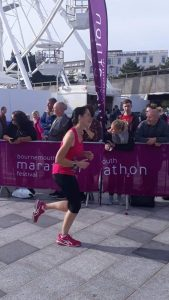 Me looking tired as I'm finishing the Bournemouth marathon