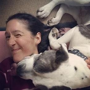 Winston 'helping' me doing yoga