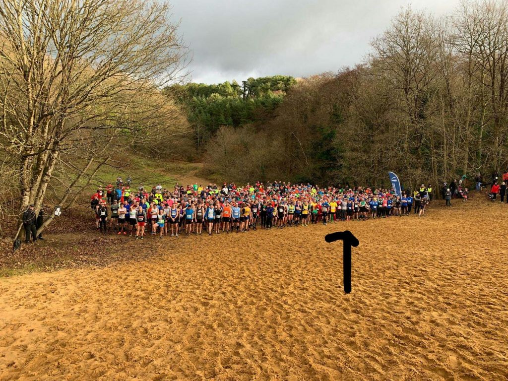 All runners ready to start the Merthyr Mawr Christmas Pudding race