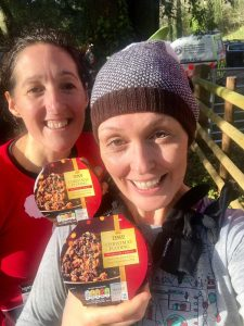 Me and Rhian with our Christmas puddings after the Merthyr Mawr Christmas Pudding Race
