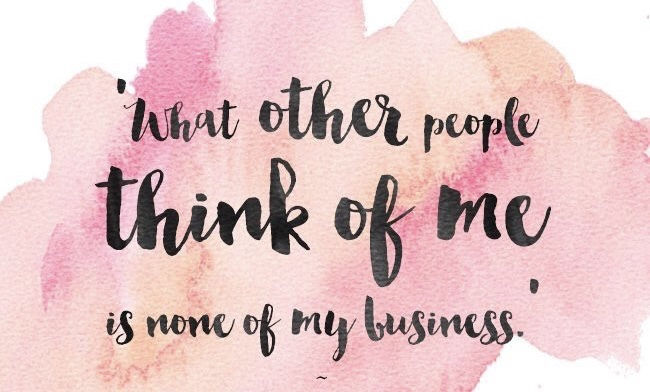 Quote on pink background - what other people think of me is none of my business