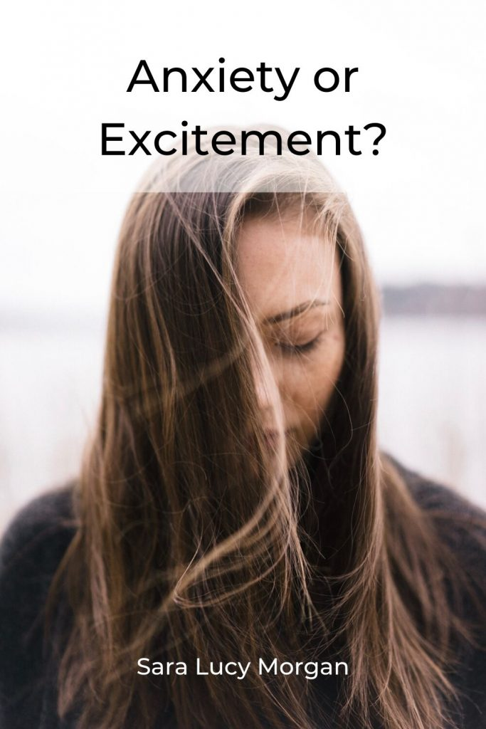Anxiety or excitement - woman looking down, eyes are barely open.
