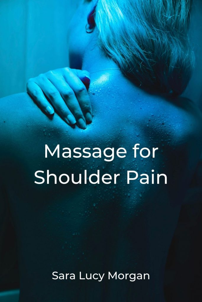 massage for shoulder pain - lady with hand on her shoulder in pain