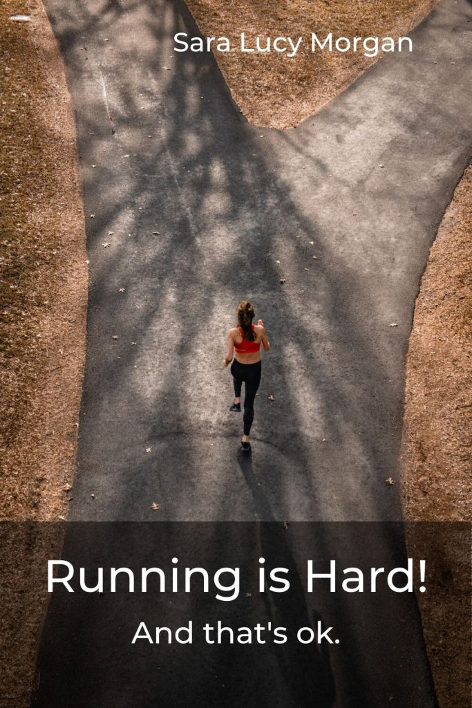 Running is hard - woman running towards fork in the road.