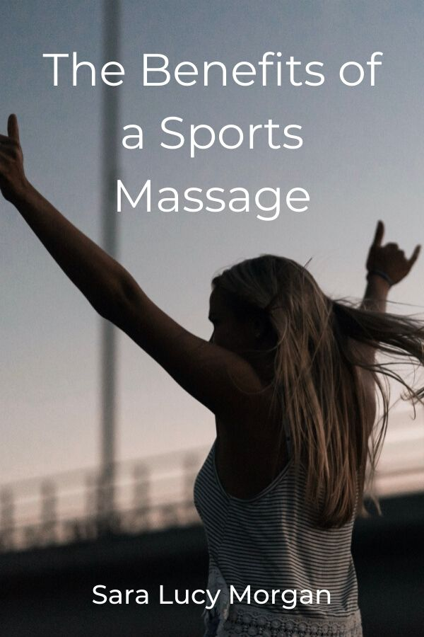 The benefits of a sports massage - girl moving forward with her hand in the air.