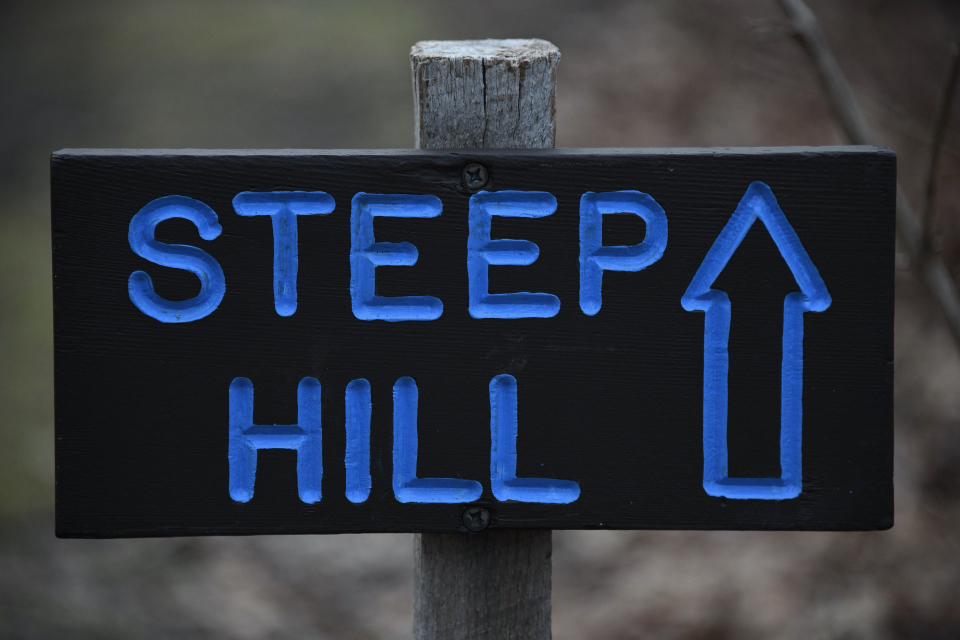 Steep hill sign - tips for new runners