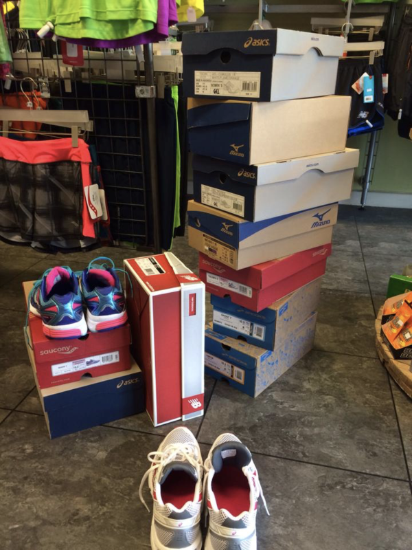 Tips for New Runners - The pile of trainers I tried on.