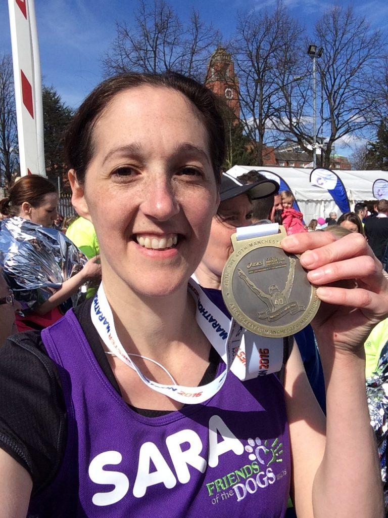 Sara Lucy Morgan with Manchester Marathon medal