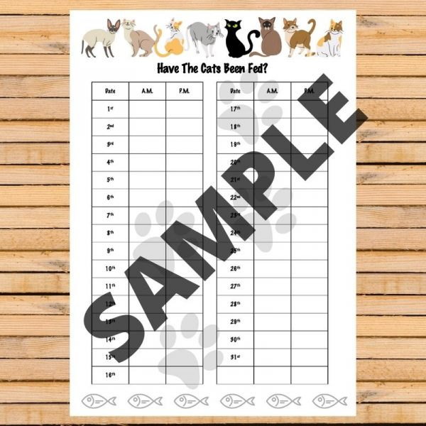 Monthly printable cat feeding chart