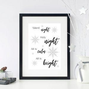 Silent Night Printable Christmas Wall Art